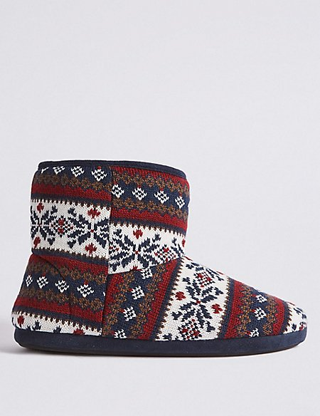 Fairisle Slipper Boots with Freshfeet™