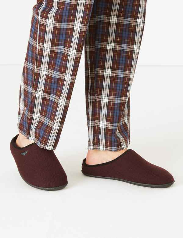 2 colours Ladies Womens Tartan Check Fleece Mule Slippers