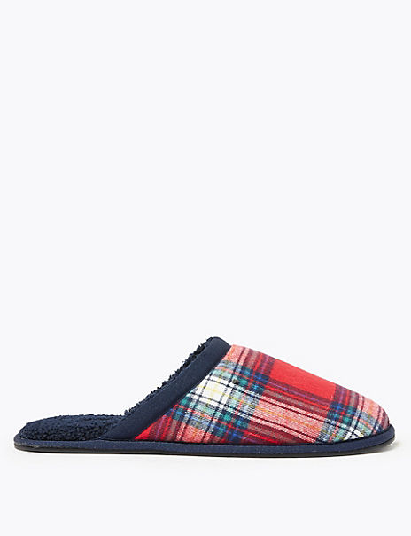 Checked Mule Slippers