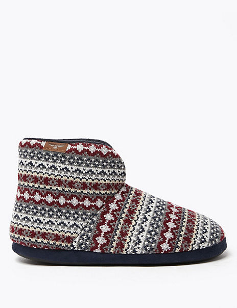 Fairisle Warm Lined Slipper Boots