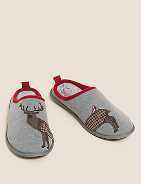 Stag Pattern Mule Slippers with Freshfeet™