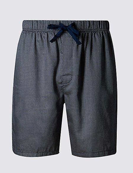 Supima® Cotton Slim Fit Dogtooth Print Pyjama Shorts