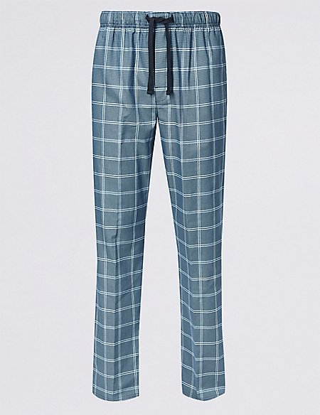 Supima® Cotton Checked Long Pyjama Bottoms