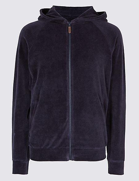 Cotton Rich Slim Fit Velour Hooded Top