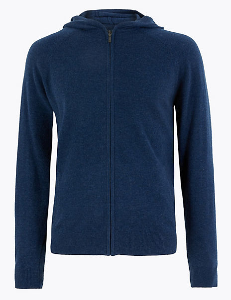 Wool with Cashmere Zip Through Hoodie