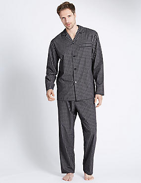 2in Longer Cotton Blend Checked Pyjama Set