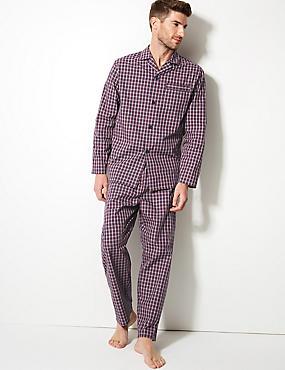 Cotton Blend Checked Pyjama Set