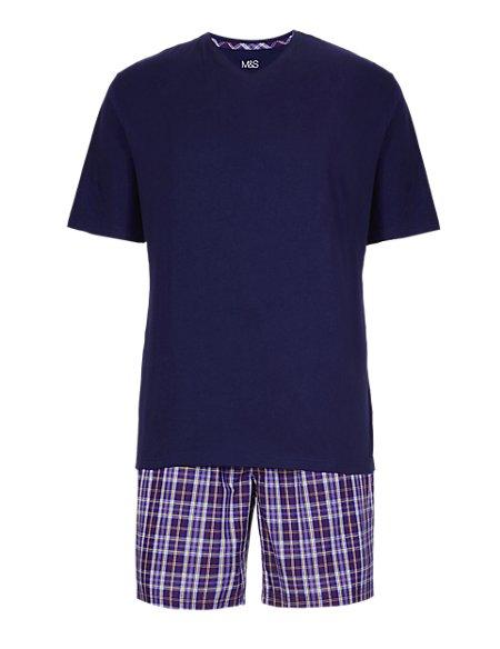 Pure Cotton Checked T-Shirt & Shorts Set