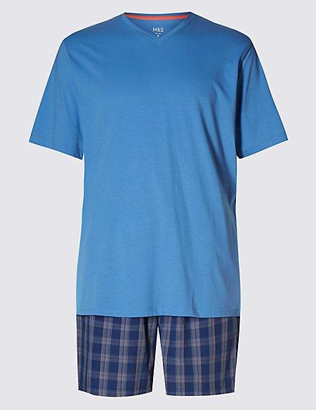 Pure Cotton T-Shirt & Checked Shorts Set