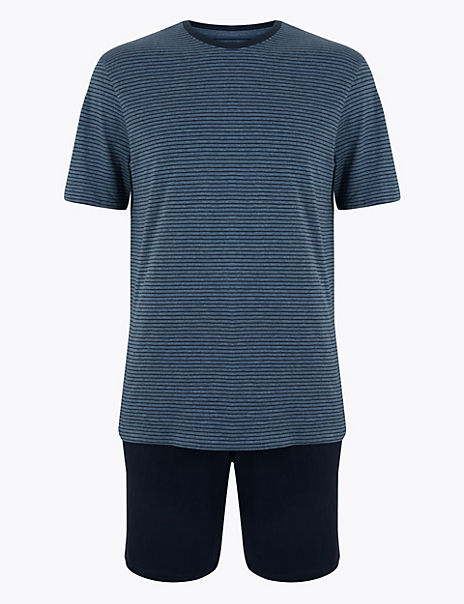 Cotton Striped Pyjama Shorts Set