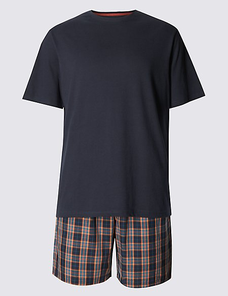 Pure Cotton Checked Top & Shorts Pyjamas