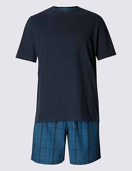Pure Cotton Teal Checked T-Shirt & Shorts Set
