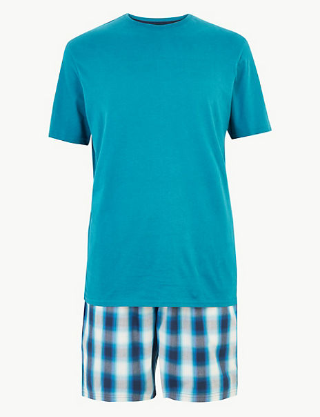 Cotton Checked Pyjama Shorts Set