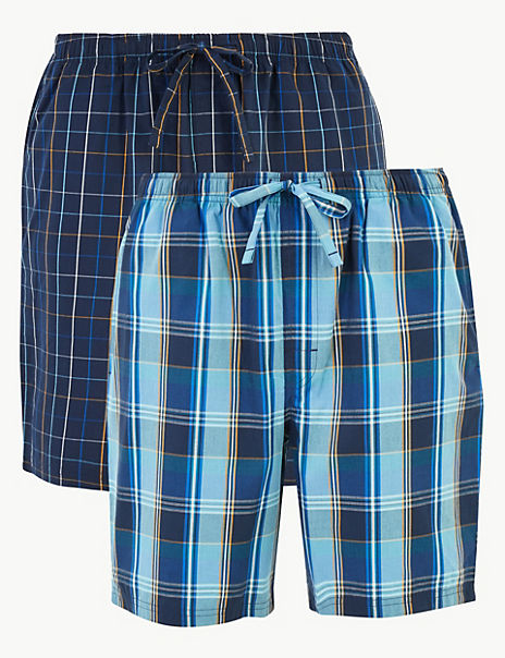 2 Pack Cotton Checked Pyjama Shorts
