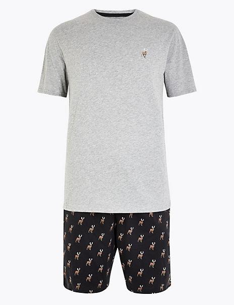 Pure Cotton Stag Print Pyjama Short Set