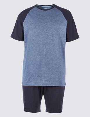 Pure Cotton Striped Pyjama Shorts Set & Christmas Gifts for Husband | Xmas Presents for Husband | Mu0026S