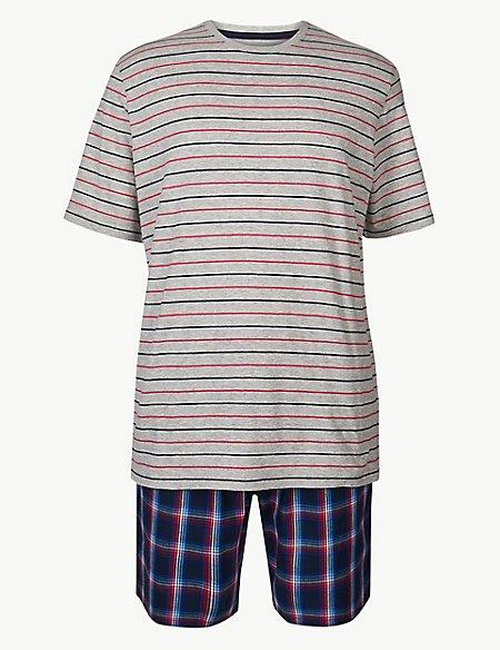 Pure Cotton Check & Stripe Pyjama Shorts Set