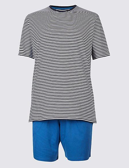 Pure Cotton Striped Pyjama Shorts Set