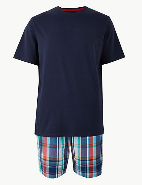 2in Longer Cotton Checked Pyjama Shorts Set