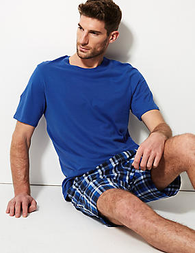 Pure Cotton Checked Pyjama Shorts Set