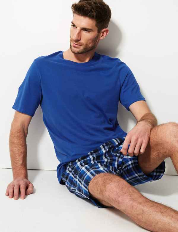19b497fed55 Pure Cotton Checked Pyjama Shorts Set