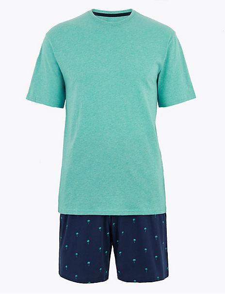 Pure Cotton Palm Print Pyjama Set