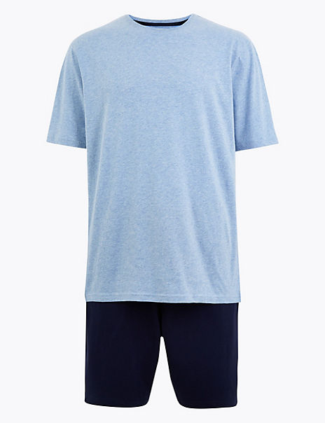 Pure Cotton Marl Pyjama Short Set