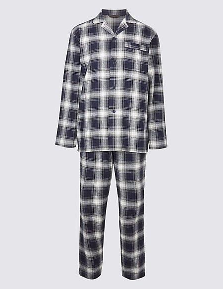 Pure Brushed Cotton Checked Pyjama Set