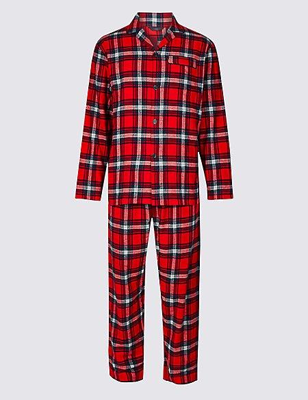 Brushed Cotton Checked Christmas Pyjama Set