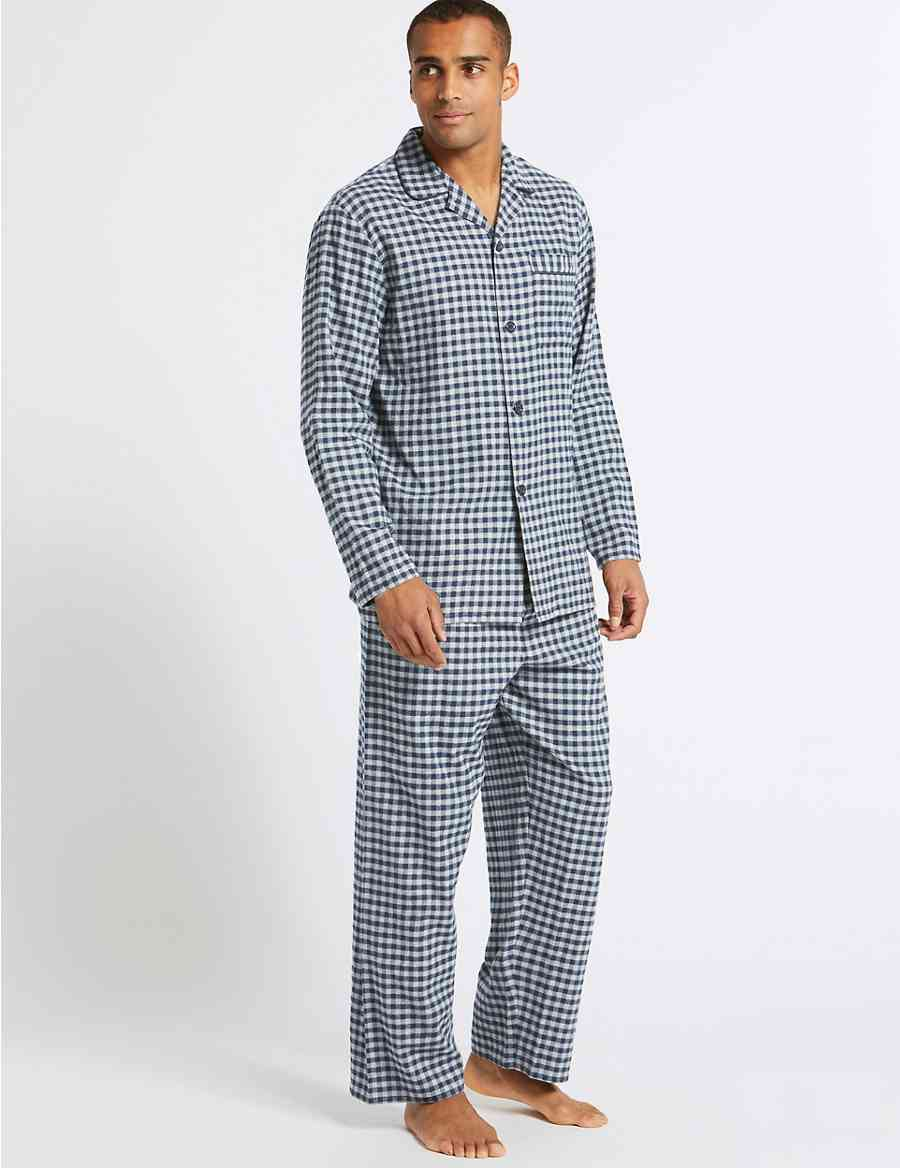 01d0de0175 Big   Tall Brushed Cotton Checked Pyjama Set