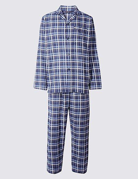 Pure Brushed Cotton Checked Pyjama Set