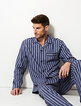 Pure Brushed Cotton Striped Pyjama Set