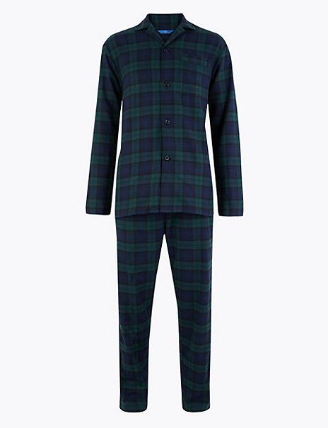 Longer Length Brushed Cotton Pyjama Set