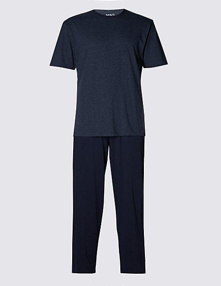 Cotton Rich Striped T-Shirt & Trousers Set
