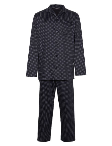 2in Longer Pure Cotton Long Sleeve Spotted Pyjamas