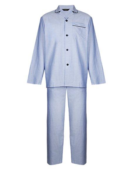 Pure Cotton Revere Collar Oxford Pyjamas