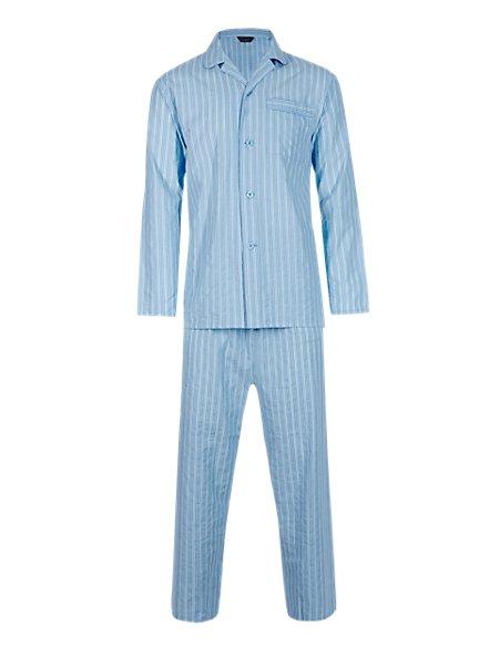 Pure Cotton Seersucker Striped Pyjamas