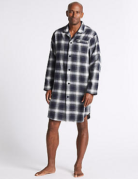 Pure Brushed Cotton Checked Nightshirt