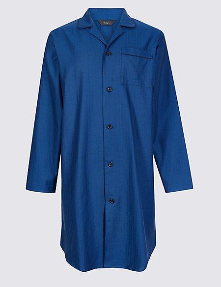 Pure Cotton Herringbone Nightshirt