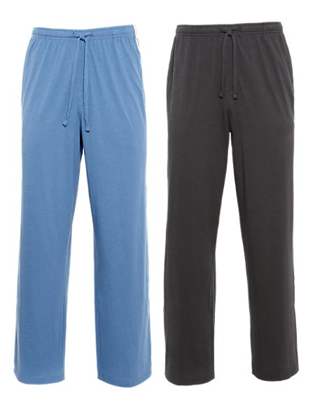 2 Pack 2in Longer Pure Cotton Pyjama Bottoms