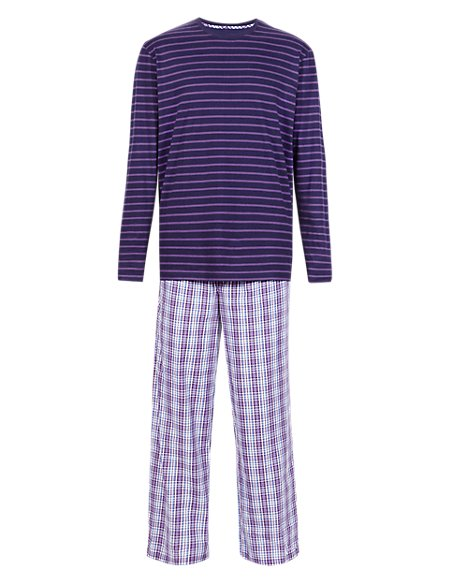 Pure Cotton Striped T-Shirt & Checked Trousers Set