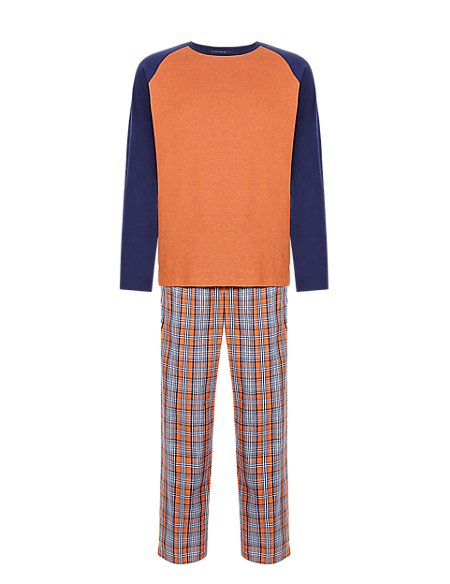 Pure Cotton Checked Long Sleeve T-Shirt & Trousers Set