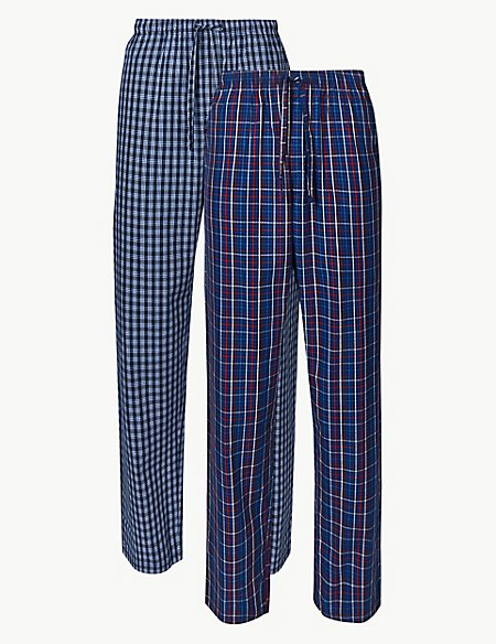2 Pack Pure Cotton Checked Long Pyjama Bottoms