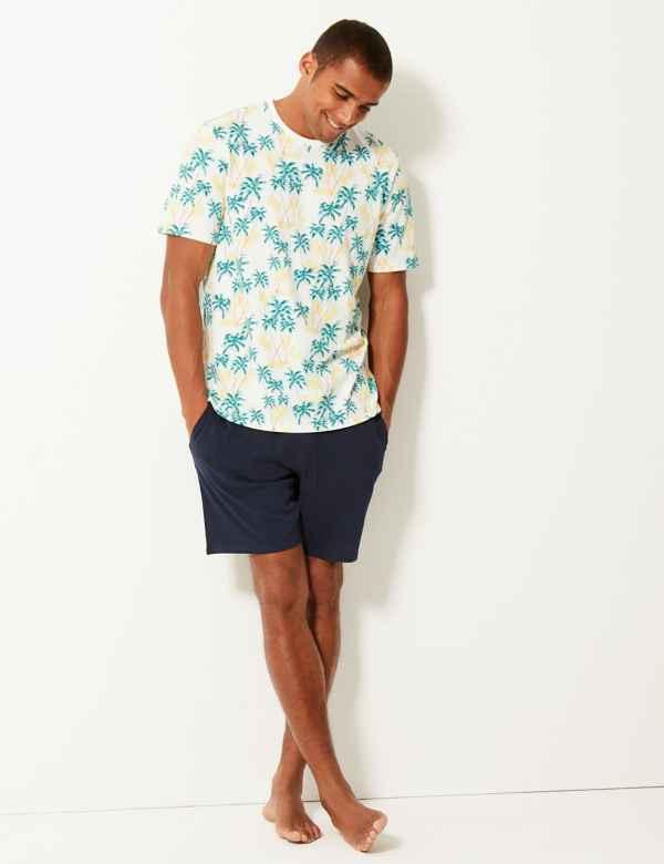 80b7109822 Pure Cotton Palm Print Pyjama Shorts Set