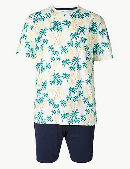 Pure Cotton Palm Print Pyjama Shorts Set