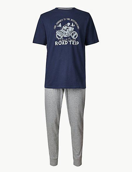 Pure Cotton Motorbike Print Pyjama Set