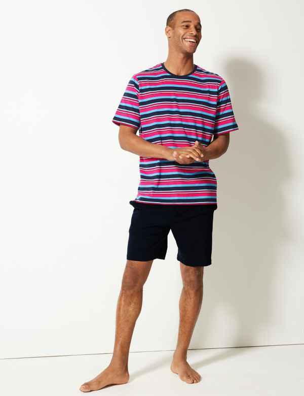412ea7b97583 Pure Cotton Striped Pyjama Shorts Set