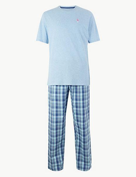 2in Longer Pure Cotton Flamingo Print Pyjama Set