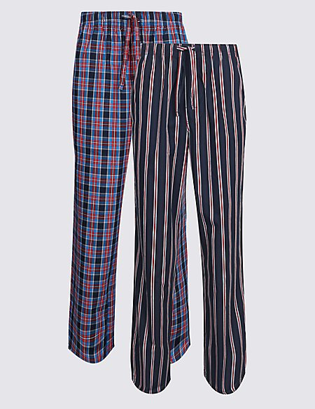 2 Pack Pure Cotton Long Pyjama Bottoms