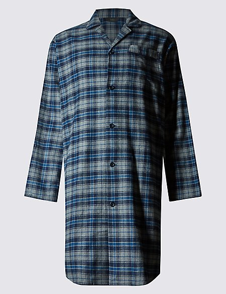 Pure Cotton Wincey Core Checked Nightshirt